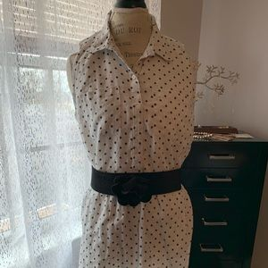 Loft polka dot linen dress
